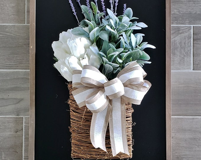 LARGE Rattan Wall Basket with Tulips, Lavender & Lambs Ear Stems.