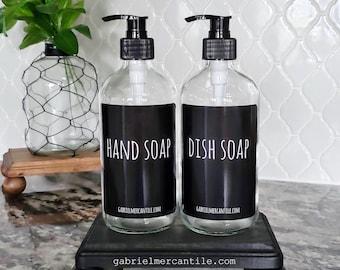 One 16/32 oz Empty Glass Bottle Refill Dispenser with Pump & Black Label | Hand Soap | Dish Soap | Refillable Bottle Dispenser