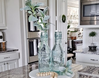 Lambs Ear Decorated 1 Liter Recycled Green Glass Bottle / Carafe.