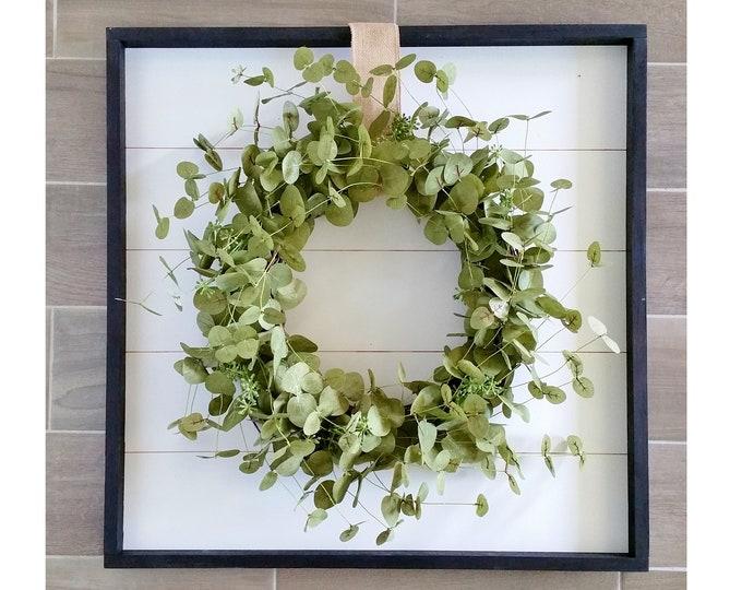 Shiplap Framed with Eucalyptus Wreath