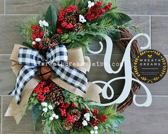 "Best Selling! 18"" to 32"" Christmas Wreath. Christmas Wreath. Holiday Wreath. Winter Wreath. Door Wreath. Monogram Wreath. Artificial Wreath."