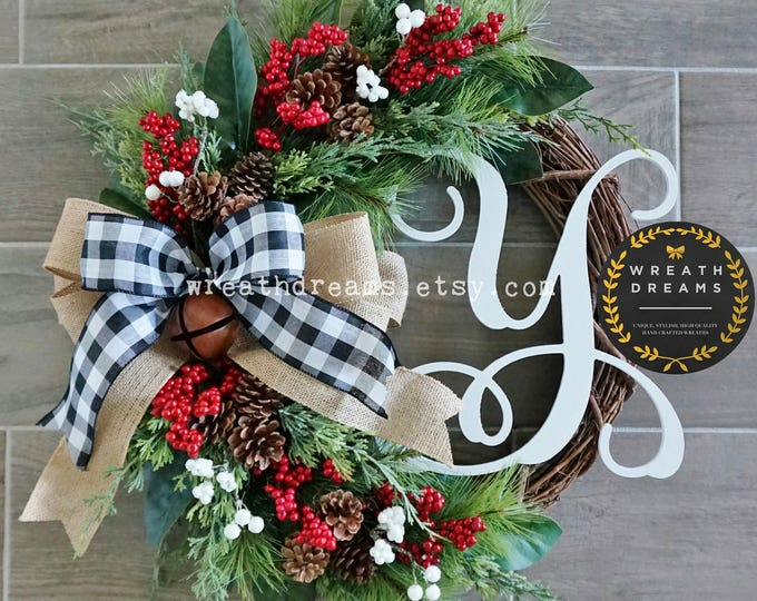"""Best Selling! 18"""" to 32"""" Christmas Wreath. Christmas Wreath. Holiday Wreath. Winter Wreath. Door Wreath. Monogram Wreath. Artificial Wreath."""