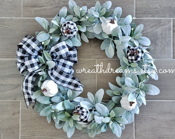Fall Wreath with Lambs Ear, White Berries, Faux Pumpkins.