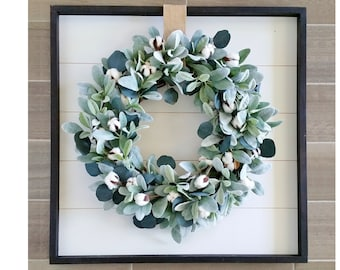 Shiplap Framed with Cotton & Eucalyptus Wreath