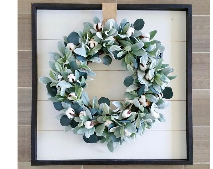 Shiplap Framed with Cotton & Eucalyptus Wreath