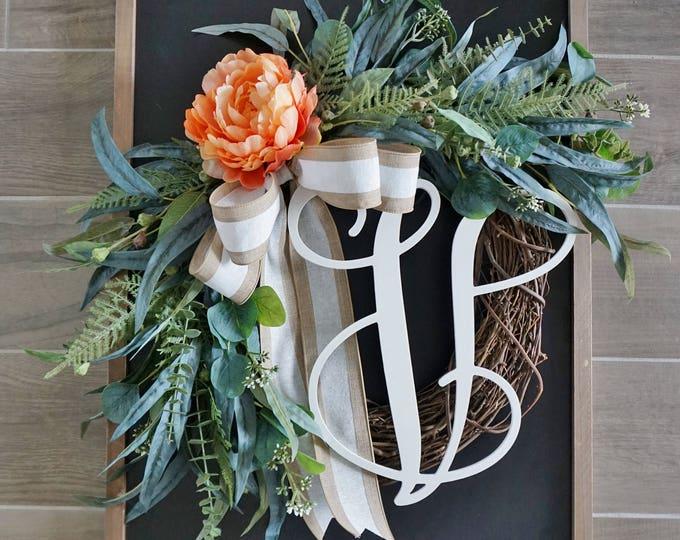 Coral Peony & Mixed Eucalyptus Wreath
