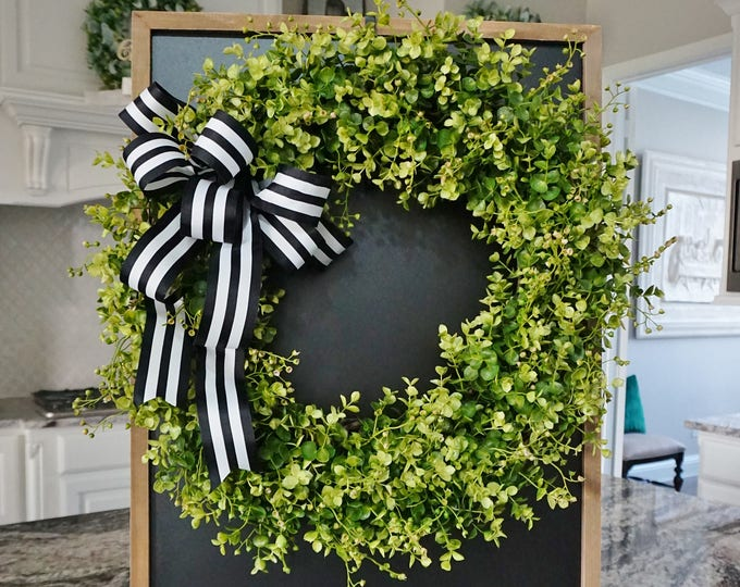 Eucalyptus & Beach Basswood Grapevine Wreath.