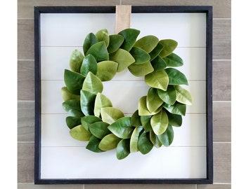 Shiplap Framed Magnolia Wreath