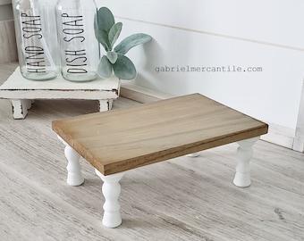 Mini Weathered Wood Riser Stand. Wood Riser. Wood Stand. Wood Pedestal. Wood Tray. Farmhouse. Rae Dunn. Rustic. Distressed.