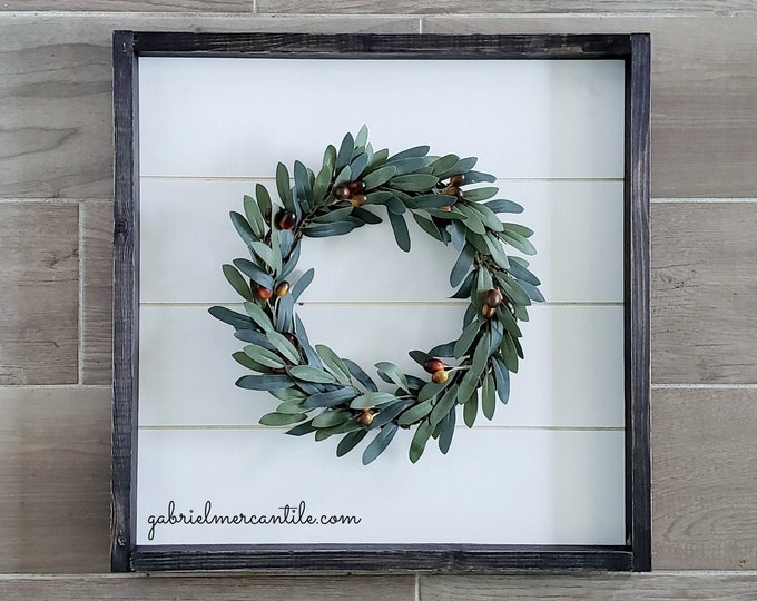Shiplap Framed Olive Wreath. Shiplap Sign. Shiplap Wall Decor. Shiplap Wreath. Shiplap Frame.