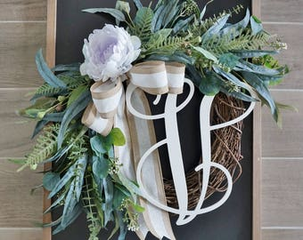 Pale Purple Peony & Mixed Eucalyptus Wreath