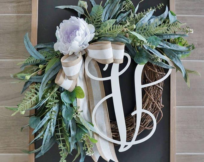 Pale Purple Peony & Mixed Eucalyptus Wreath
