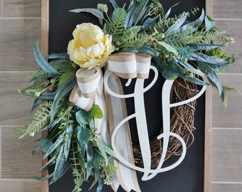 Yellow Peony & Mixed Eucalyptus Wreath