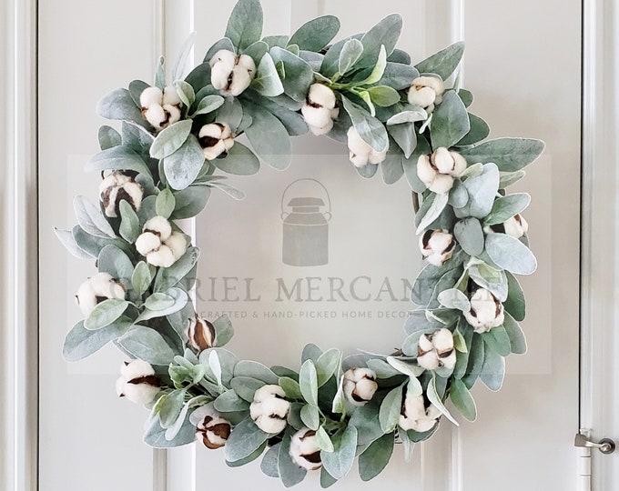Lamb's Ear, Boxwood & Berries Grapevine Wreath.