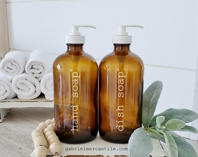 Set of TWO 16/32 oz. Empty Glass Bottle Refill Dispenser with Pump in Print Font | Hand Soap | Dish Soap | Refillable Bottle Dispenser