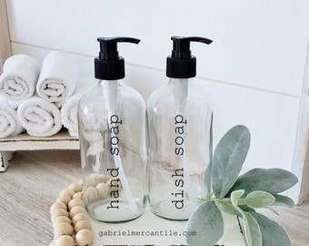 Set of Two 16 oz Empty Glass Bottle Refill Dispenser with Pump | Hand Soap | Dish Soap | Dispenser Bottle | Refillable Soap Dispenser