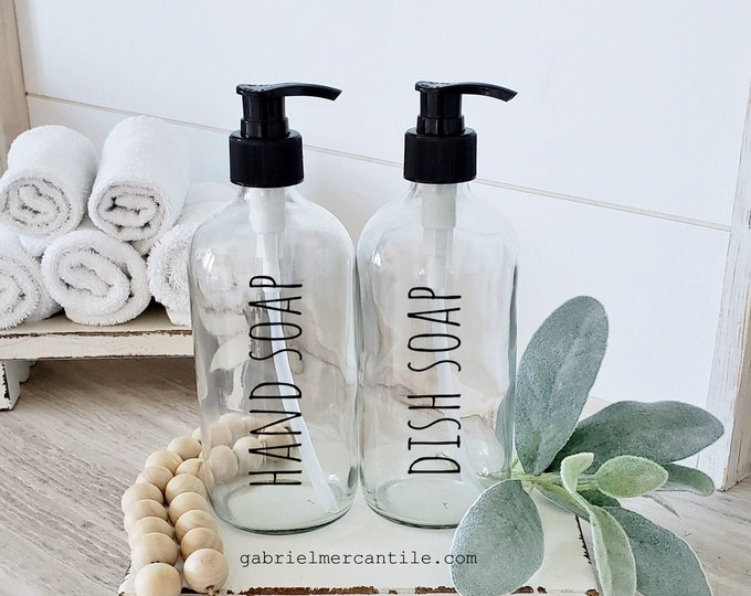 Set of TWO 16/32 oz. Empty Glass Bottle Refill Dispenser with Pump in Farmhouse Font | Hand Soap | Dish Soap | Refillable Bottle Dispenser