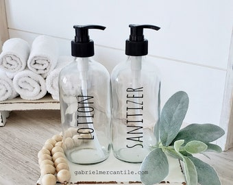 Set of Two 16 oz Empty Glass Bottle Refill Dispenser with Pump | Lotion | Sanitizer | Dispenser Bottle | Refillable Soap Dispenser
