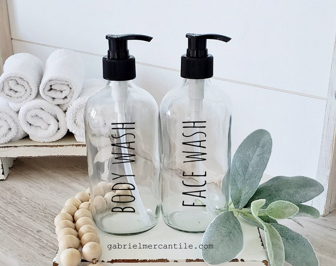 Set of Two 16 oz Empty Glass Bottle Refill Dispenser with Pump   Body Wash   Face Wash   Dispenser Bottle   Refillable Soap Dispenser