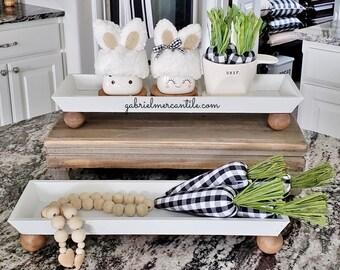 Slim Rectangular Tray Riser Stand. Wood Riser. Wood Stand. Wood Pedestal. Wood Tray. Farmhouse Tray. Rae Dunn.