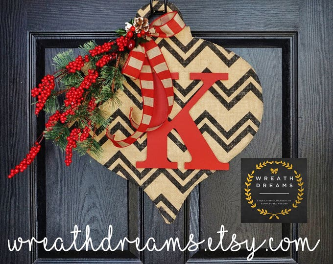 LIMITED QTY! Rustic Jumbo Burlap Christmas Ornament with Monogram. Christmas Wreath. Winter Wreath.