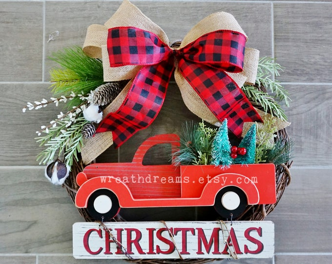 "LIMITED QTY! 17"" Farmhouse Christmas Red Pickup Truck Wreath . Holiday Wreath. Winter Wreath. Door Wreath. Monogram Wreath."