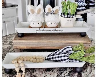 Slim Rectangular Tray Riser Stand. Wood Riser. Wood Stand. Wood Pedestal. Wood Tray. Farmhouse Tray. .
