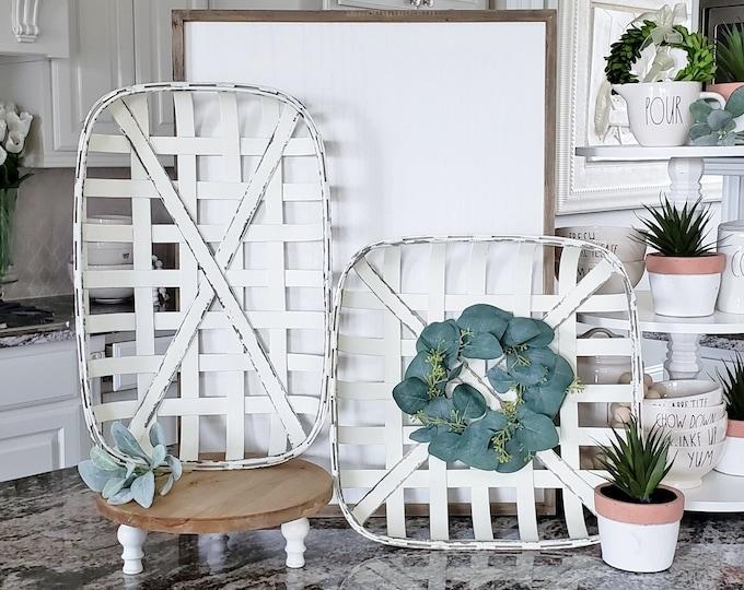 White Wash Tobacco Basket with Seeded Eucalyptus Wreath.