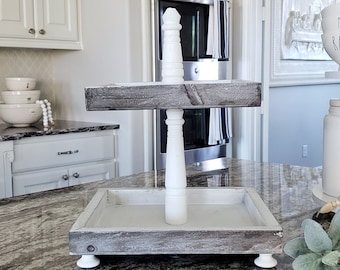 Rustic Wood 2 Tier Square Tray Stand in Distressed White Paint Color.