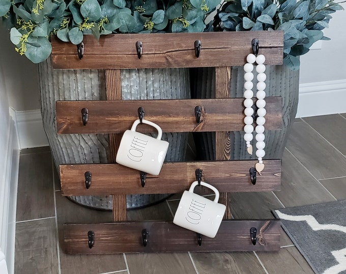 Custom Hand-Crafted Wooden Mug Rack.