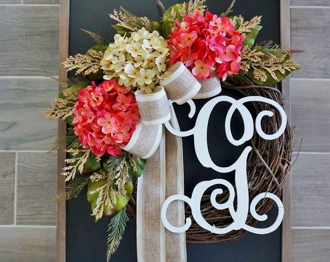 Antique White & Pink Hydrangea Wreath
