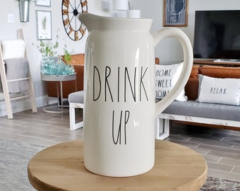 Rae Dunn Large Letter: Drink Up Pitcher