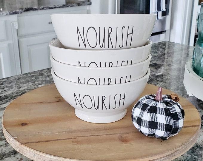 "Rae Dunn Large Letter: ""Nourish"" Ceramic Bowl Set of 4"