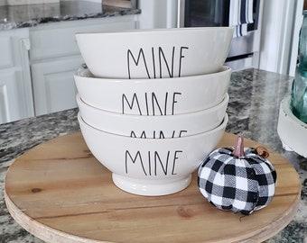 """Rae Dunn Large Letter: """"Mine"""" Ceramic Bowl Set of 4"""