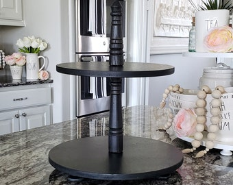 Wooden 2 Tier Round Tray Stand in Black Paint Color. Size Options Available.