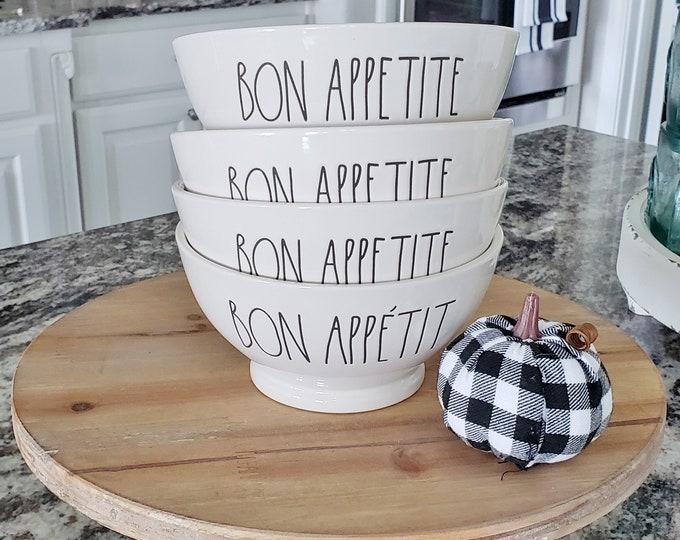 """Rae Dunn Large Letter: """"Bon Appetite"""" Ceramic Bowl Set of 4"""