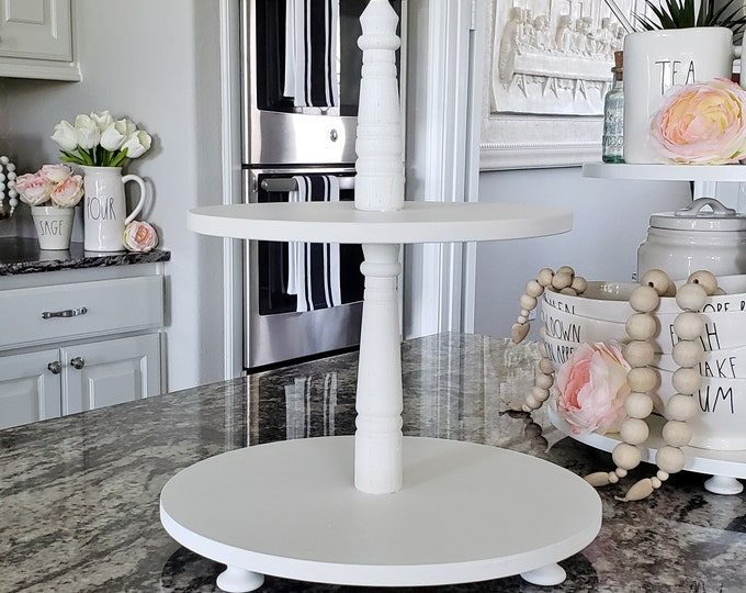 Wooden 2 Tier Round Tray Stand in White Paint Color. Size Options Available.