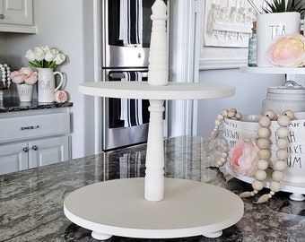 Wooden 2 Tier Round Tray Stand in Cream Paint Color. Size Options Available.