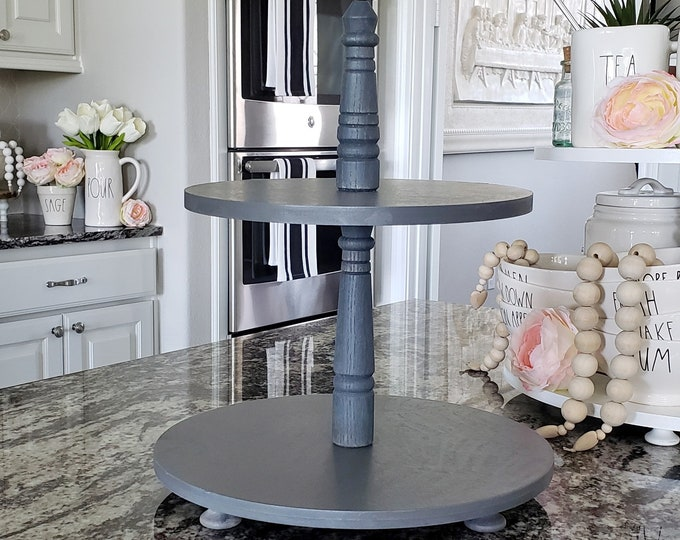 Wooden 2 Tier Round Tray Stand in Gray Paint Color. Size Options Available.