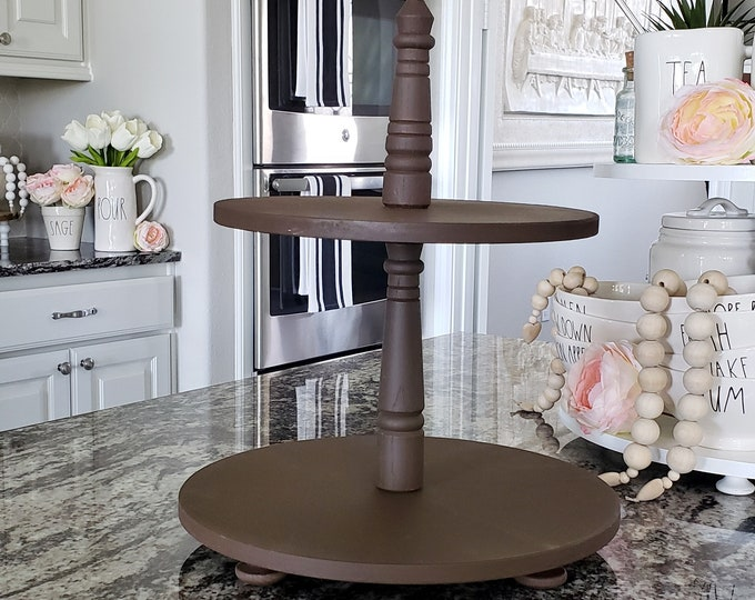 Wooden 2 Tier Round Tray Stand in Espresso Paint Color. Size Options Available.