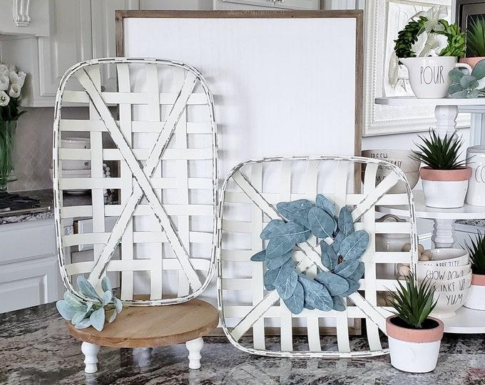 White Wash Tobacco Basket with Eucalyptus Wreath.