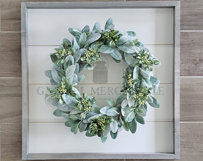 Shiplap Framed with Lambs Ear & Berry Wreath
