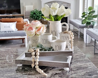 Distressed Square Footed Wood Tray.