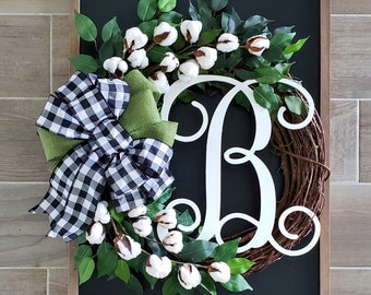 Cotton & Ficus Grapevine Wreath