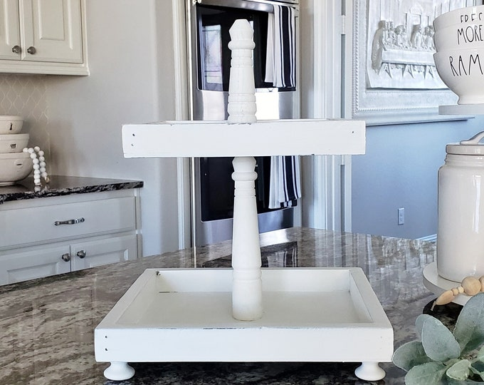 Rustic Wood 2 Tier Square Tray Stand in White Paint Color.