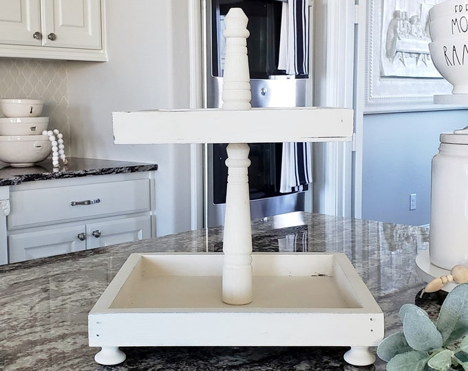 Rustic Wood 2 Tier Square Tray Stand in Cream Paint Color.