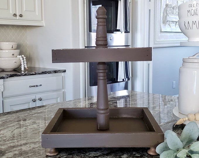 Rustic Wood 2 Tier Square Tray Stand in Espresso Paint Color.