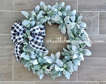 Lamb's Ear Grapevine Wreath.