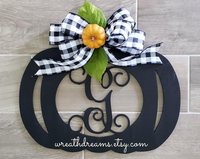 Large Black Wooden Monogram Pumpkin Decor Wreath. Autumn Wreath. Hello Fall. Autumn Wreath. Wall Wreath. Door Wreath. Monogram Wreath.
