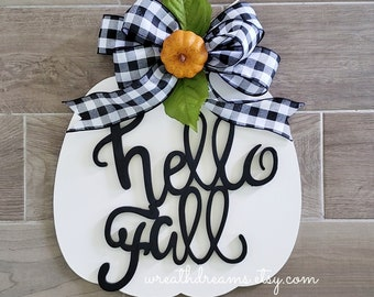 LIMITED QTY! Large White Wooden Pumpkin Decor Wreath. Autumn Wreath. Hello Fall. Autumn Wreath. Wall Wreath. Door Wreath. Monogram Wreath.